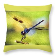 Dragonfly In Blue Throw Pillow