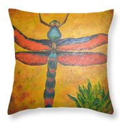 Dragonfly In Flight Throw Pillow
