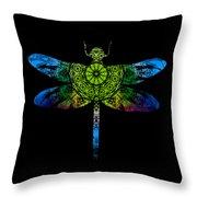Dragonfly Kaleidoscope Throw Pillow by Deleas Kilgore