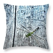 Dragonfly On A Bench Throw Pillow