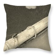 Dragonfly On Bamboo Oar Throw Pillow