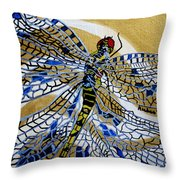 Dragonfly On Gold Scarf Throw Pillow