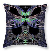 Dragonfly Queen At Midnight Fractal 161 Throw Pillow