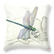 Dragonfly With Chameleon Throw Pillow