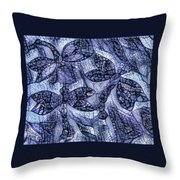 Dragons In Blue Mosaic Throw Pillow