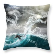Dragon's Soul Surfer Throw Pillow