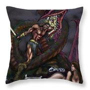 Dragonslayer N Damsel Throw Pillow