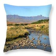 Drakensberg Amphitheatre Mountain Range In Kwazulu Natal, South Africa Throw Pillow