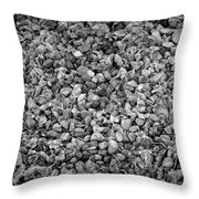 Dramatic Black And White Petals On Stones Throw Pillow