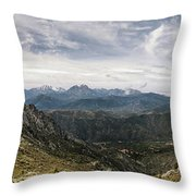 Dramatic Panoramic View Of Snow Capped Mountains Of Northern Cor Throw Pillow