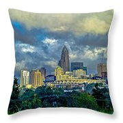 Dramatic Sky With Clouds Over Charlotte Skyline Throw Pillow