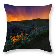 Dramatic Spring Sunset In Boise Idaho Usa Throw Pillow
