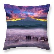 Dramatic Sunrise Over Foggy Downtown Portland Throw Pillow