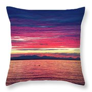 Dramatic Sunset Colors Over Birch Bay Throw Pillow