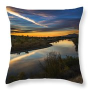 Dramatic Sunset Over Boise River Boise Idaho Throw Pillow
