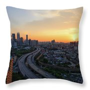 Dramatic Sunset Over Kuala Lumpur City Skyline Throw Pillow