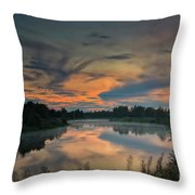 Dramatic Sunset Over The Misty River Throw Pillow