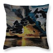 Dramatic Sunset Seascape Throw Pillow