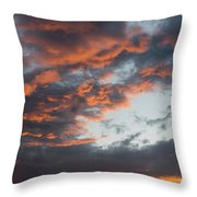 Dramatic Sunset Sky With Orange Cloud Colors Throw Pillow