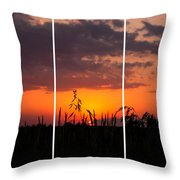Dramatic Sunset Triptych Throw Pillow