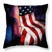 Draped American Flag Throw Pillow