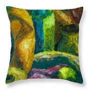 Drapes And Shapes Throw Pillow by Angelique Bowman