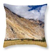Drass Village Agriculture Kargil Ladakh Jammu And Kashmir India Throw Pillow