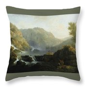 Draughtsmen In Front Of A Waterfall Throw Pillow