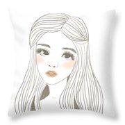 Draw Girl Throw Pillow