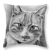 Drawing Of A Cat In Black And White Throw Pillow