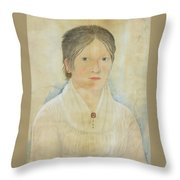 Drawing Of A Young Girl Throw Pillow