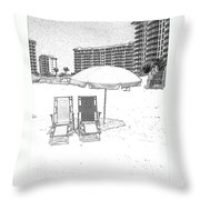 Drawing The Beach Chairs Throw Pillow