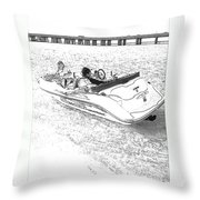 Drawing The Boat Throw Pillow