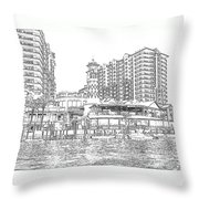 Drawing The Harbor Throw Pillow