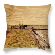 Drawing The Seine 1882 Throw Pillow