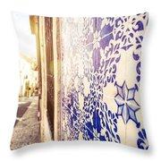 Drawing Tiles On Bairro Alto Walls In Lisbon Throw Pillow