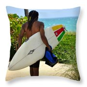 Dreadlocks Surfer Dude Throw Pillow