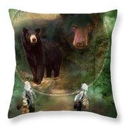 Dream Catcher - Spirit Of The Black Bear Throw Pillow