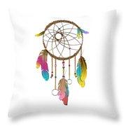 Dreamcatcher Rainbow Throw Pillow