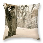 Dreamy Angel Monument Surreal Sepia Nature Throw Pillow