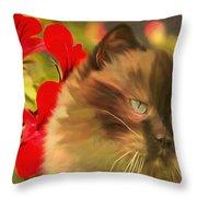 Dreamy Cat With Geranium 2015 Throw Pillow