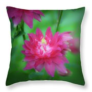 Dreamy Hot Pink Columbine Squared Throw Pillow