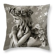 Dreamy Little Girl Angel With Praying Hands  Throw Pillow by Kathy Fornal