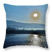 Dreamy Morning On The Ganges Throw Pillow