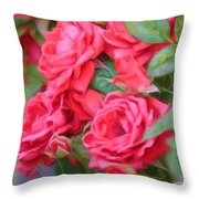 Dreamy Red Roses - Digital Art Throw Pillow