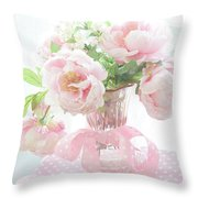 Dreamy Shabby Chic Cottage Pink Peonies In Vase - Romantic Pink Peonies Floral Bouquet Throw Pillow