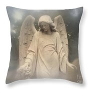 Dreamy Surreal Angel Art Fog Cemetery Throw Pillow