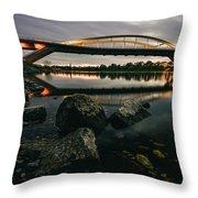 Dresden Waldschloesschenbridge Sunset Throw Pillow