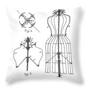 Dress Form Patent 1891  Throw Pillow