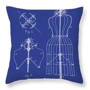 Dress Form Patent 1891 Blue Throw Pillow